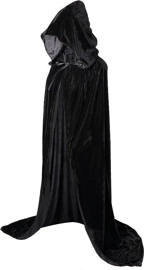 ZOEON Mantello con Cappuccio per Festa in Costume Mantello con Cappuccio Lungo Raso per Mascherata 170 cm