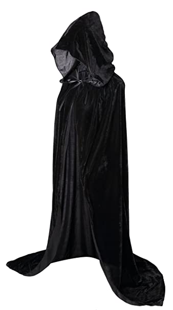 Hooded Cloak Long Velvet Cape for Halloween Cosplay Costumes 59inch