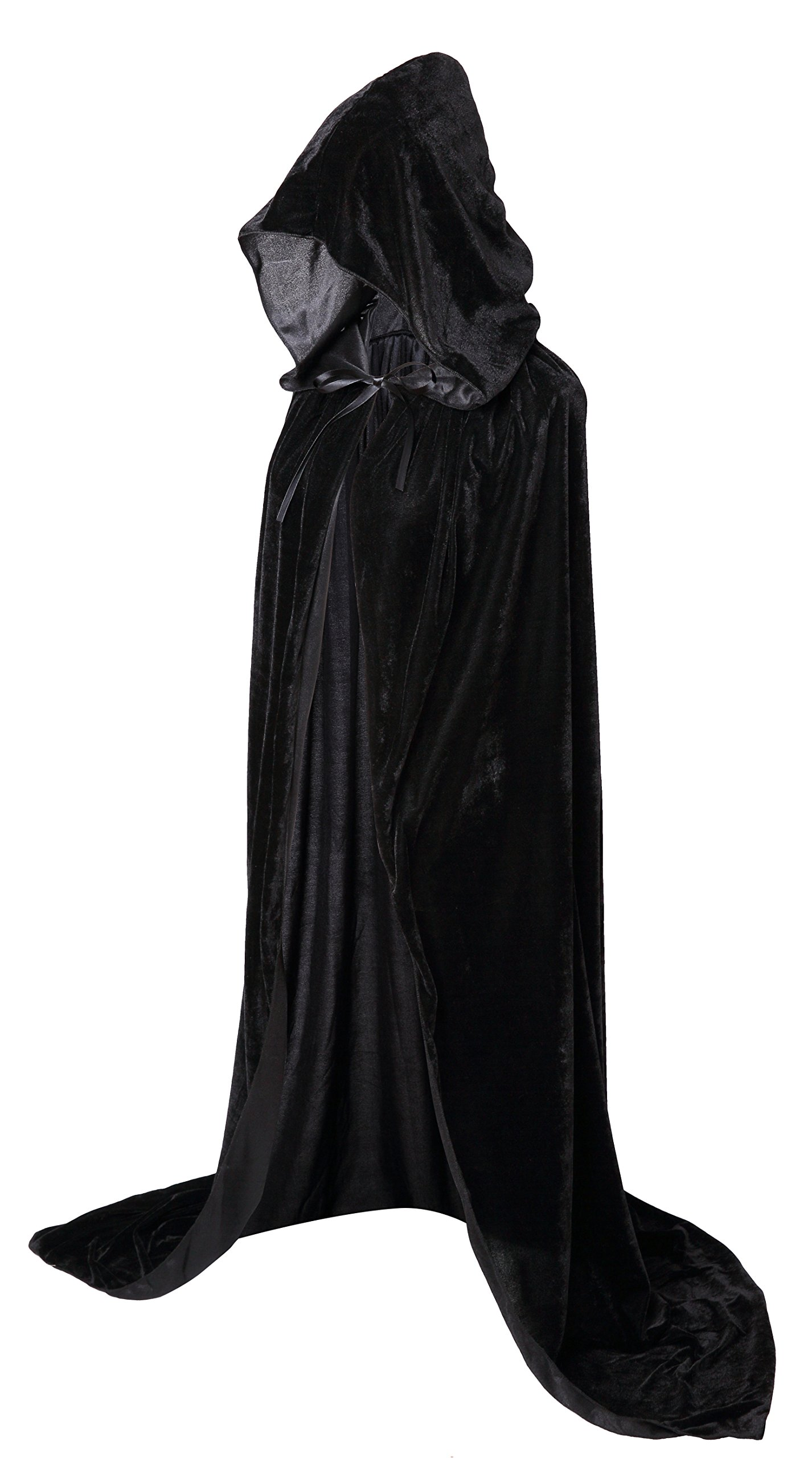 VGLOOK Full Length Hooded Cloak Long Velvet Cape for Christmas Halloween Cosplay Costumes 59'' Black
