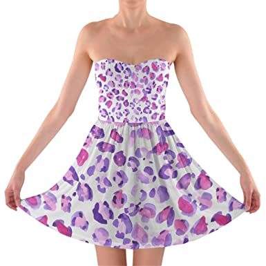 e05488621b6a5 Purple Leopard Print Sweetheart Skater Dress Strapless  Amazon.co.uk   Clothing