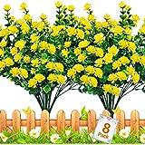 TURNMEON Artificial Flowers Outdoor, 8 Bundles Faux Flowers Plants Outdoor UV Resistant Greenery Shrubs Plants Artificial Fak