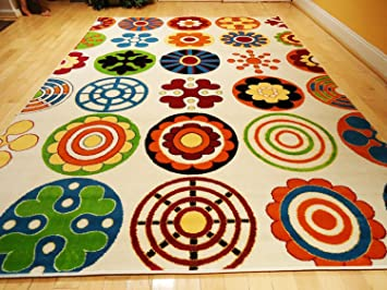 Kids Rug Playroom Rugs 4u0027x6u0027 Contemporary White Yellow Green Orange Carpet  Soft Area