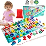 Wood Montessori Toys for Toddlers Wooden Letter Number Puzzle Early Educational Toys - Shape Sorter Toddler Stacking Blocks,6