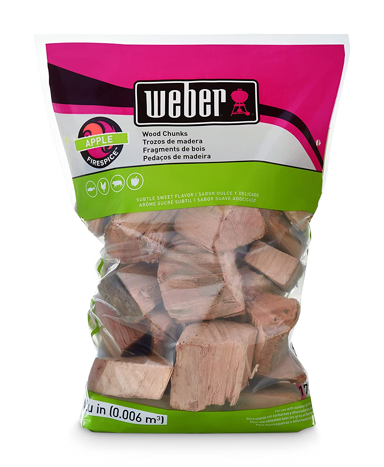 Weber 17139 Apple Wood Chunks, 350 cu. in. (0.006 Cubic Meter)