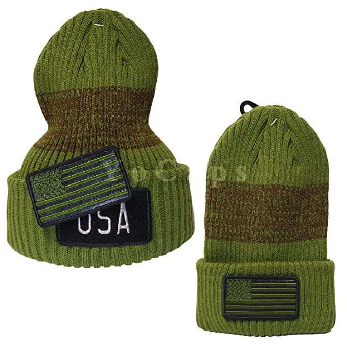 cef9e7a37f8 YoCaps USA Flag Hat Patch Embroidered Long Knit Beanie Black Navy Army Green