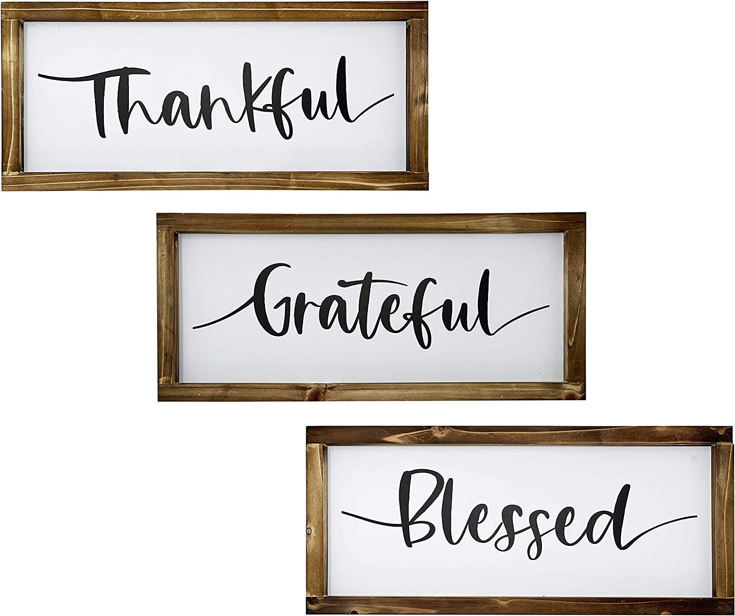 """Chiaravita 3 Piece Rustic Farmhouse Grateful Thankful Blessed Home Decor Signs - Solid Pine Wood Frame 17"""" x 7.5"""" Inspirational Wall Art Signs for Living Room, Dining Room, Kitchen,"""