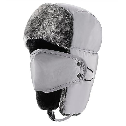 Azornic Unisex Winter Trooper Trapper Hat Hunting Hat Ushanka Ear Flap Chin  Strap with Windproof Mask b71263523b0a