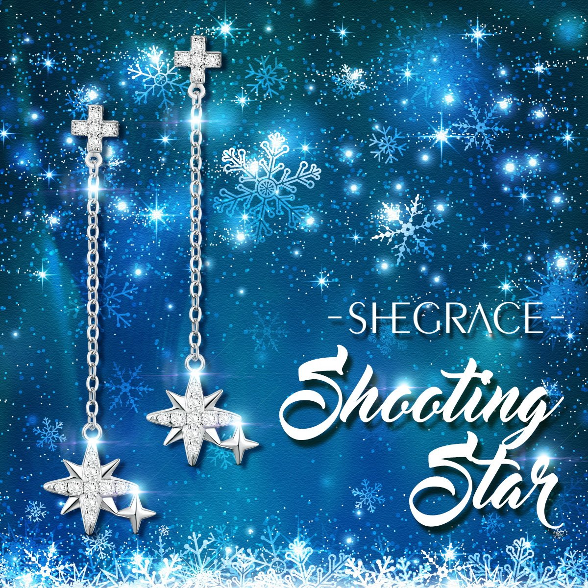 SHEGRACE 925 Sterling Silver Earrings with Star and Cross Paved with AAA Zircon