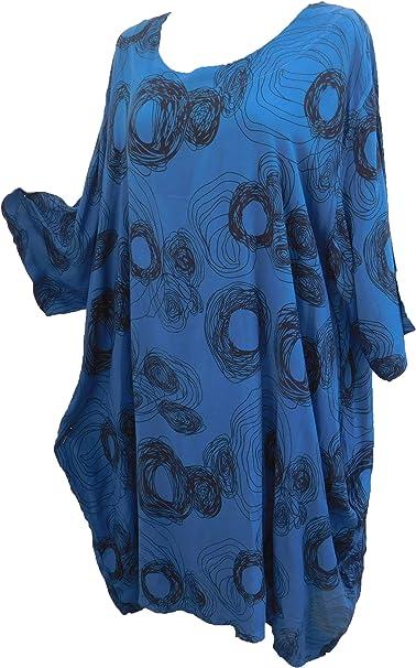 La Bass Damen Kleid Ballon Ballonkleid Sommerkleid Blau Schwarz Kreise Leicht Viskose Gr 48 50 Amazon De Bekleidung