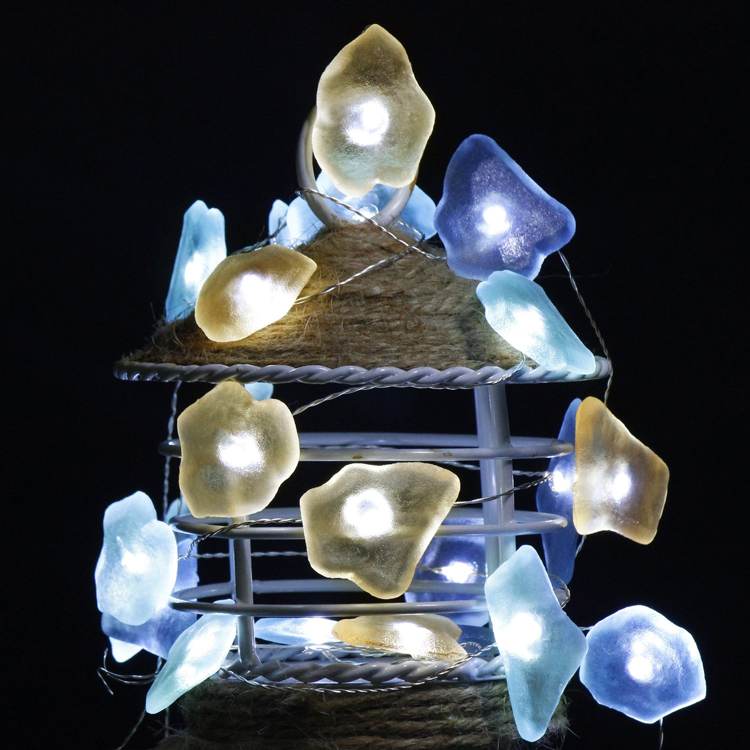 impress life decorative string lights sea glass beach themed 10 ft