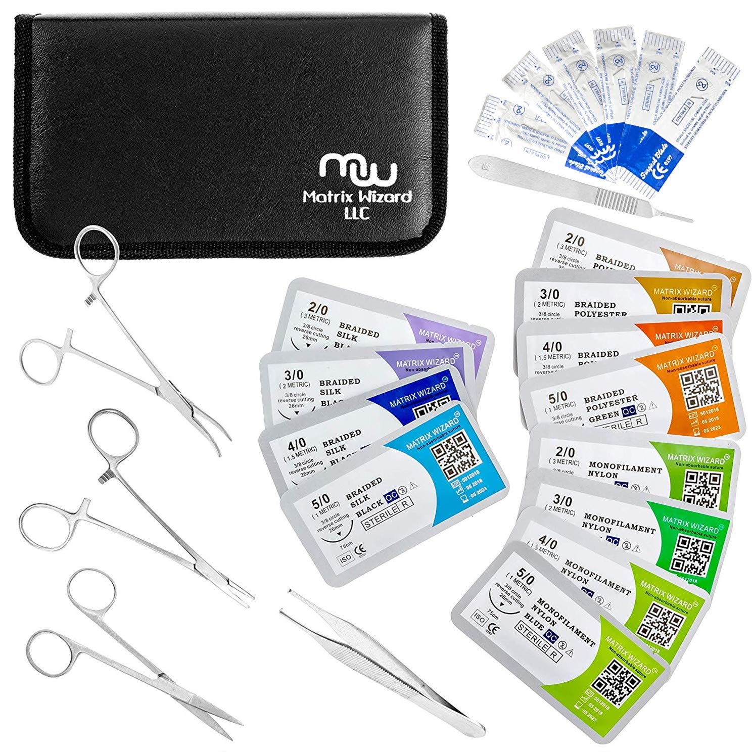 Suture Threads with Needle + Tools for Medical Student's Surgical Practice Kit; Outdoor Camping Emergency Survival Demo; Hospital First Aid Training (Mixed Suture 0-2, 0-3, 0-4, 0-5 +Tools 24Pk Total) by Matrix Wizard