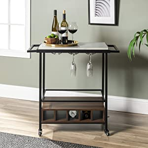 Walker Edison Furniture Company Wood Bar Serving Cart with Wheels Wine Glass and Bottle Kitchen Storage, 34 Inch, White Marble