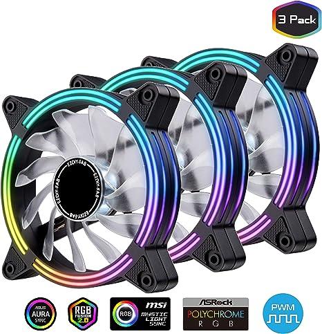 EZDIY-FAB 3-Pack 120mm Dual Frame RGB PWM Fans for PC Case,Ventilador de Caja RGB direccionable con hubs de Ventilador, Ventilador de refrigeración de la CPU, Compatible con ASUS Aura Sync: Amazon.es: Electrónica