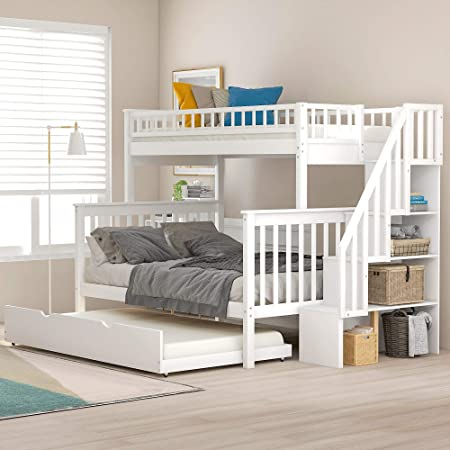 Litera individual sobre escalera completa para niños con cama nido y 4 cajones de almacenamiento en escalera, acabado: Amazon.es: Hogar