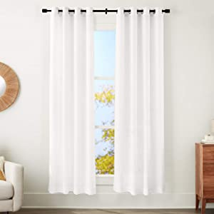 "AmazonBasics Sheer Window Panel Pair with Grommets - 50"" x 84"", Classic White"