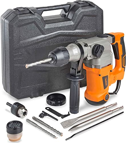 VonHaus Rotary Hammer Drill 10 Amp with Vibration Control, 3 Drill Functions and Adjustable Handle – Includes SDS Plus Drill Demolition Kit, Flat and Point Chisels with Case