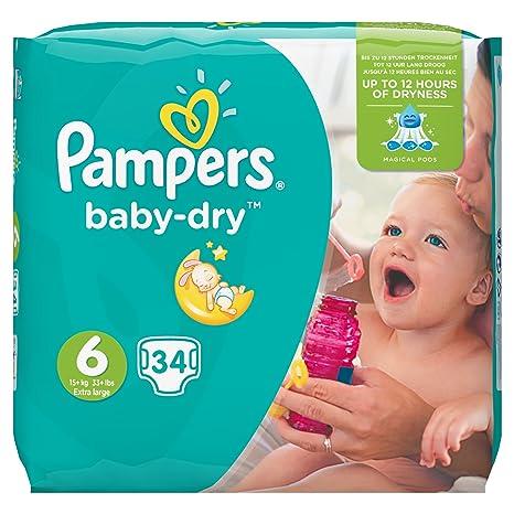 Pampers Baby Dry - Pañales para bebé, 15+ kg, talla 6 (34