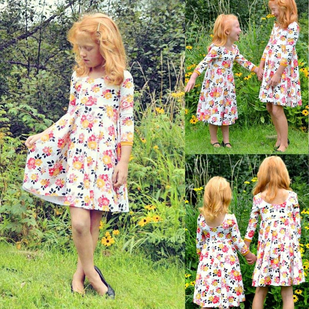 KONFA Teen Baby Girl Flowers Print Dress,Suitable For 2-6 Years Old,Little Princess Floral Skirt Set