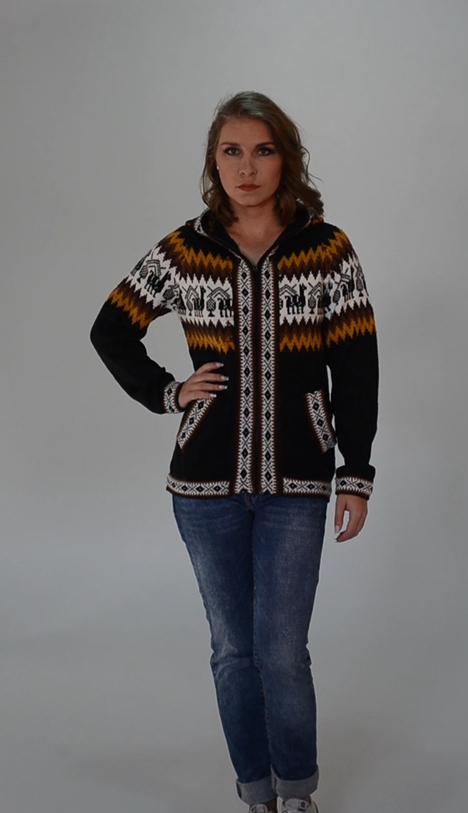 b23a9d040df660 Gamboa - Alpaca Cardigan with Zip-Front and Hood for Women ...