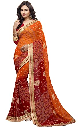 e6e2c9769b Image Unavailable. Image not available for. Colour: Sarika Women's  Georgette Rajasthani Bandhani Saree ...