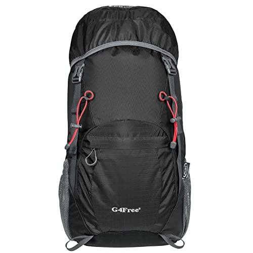 G4Free 40L Ultra Lightweight Tear & Water Resistant Foldable Travel Hiking Backpack (A-Black)