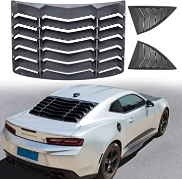 Rear Window Louver SunShade Cover Matte Black ABS for Chevy Camaro 2016-2018