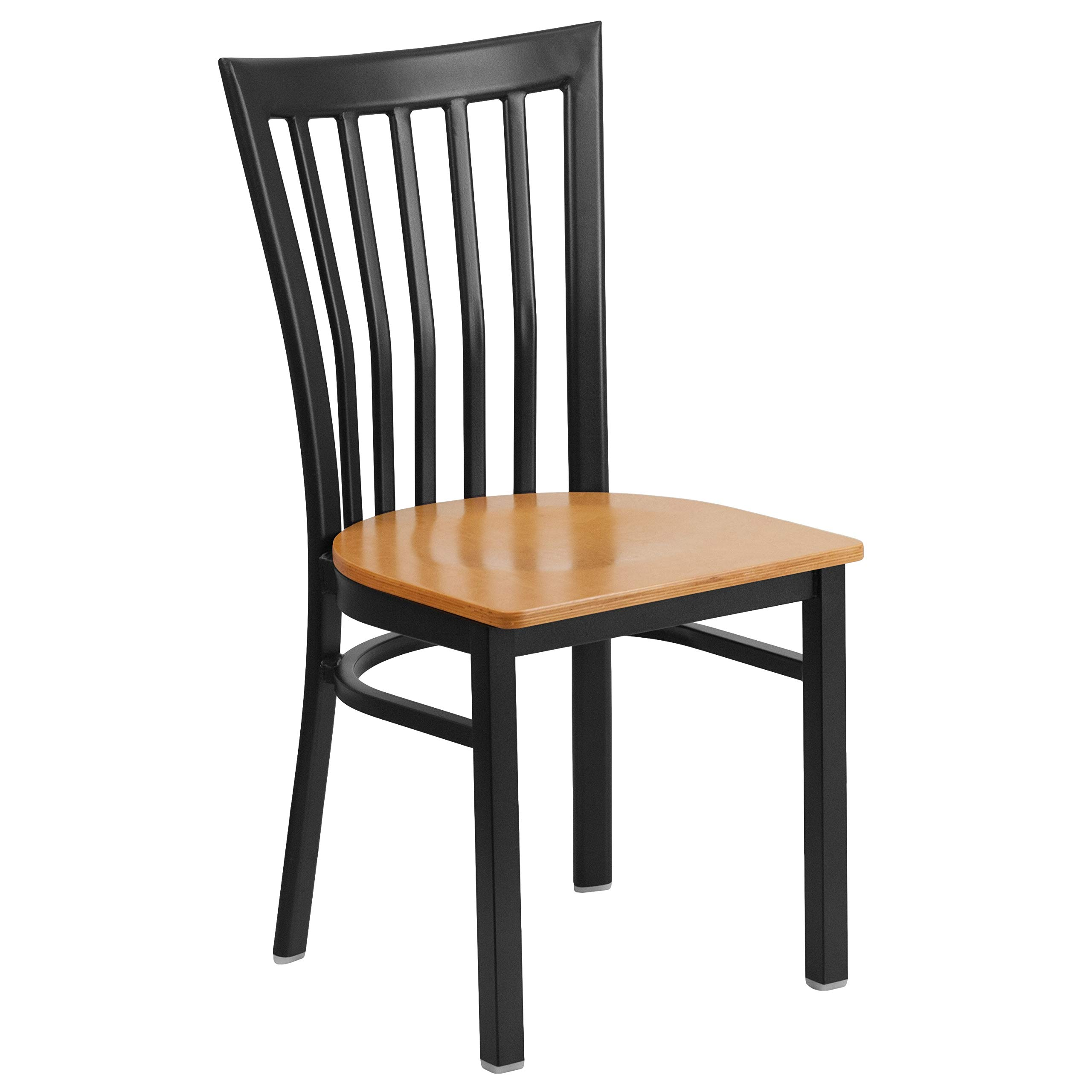 MFO Princeton Collection Black School House Back Metal Restaurant Chair - Natural Wood Seat