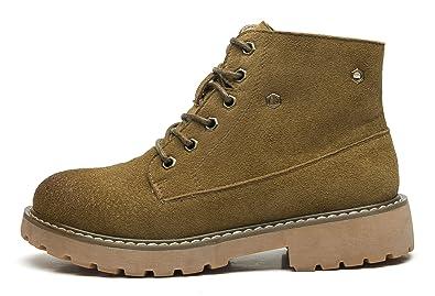 1646d2bd8d20 uBeauty Damen Leder Stiefel Chelsea Boots Flache Boots Klassischer  Stiefeletten Schnüren Freizeitschuhe Khaki 45 EU