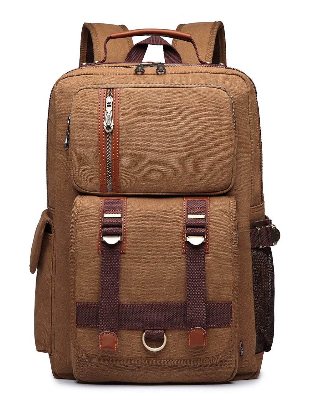 BEFAiR Unisex Middle Student Backpack Vintage Canvas Rucksack Travel Hiking Daypack Coffee