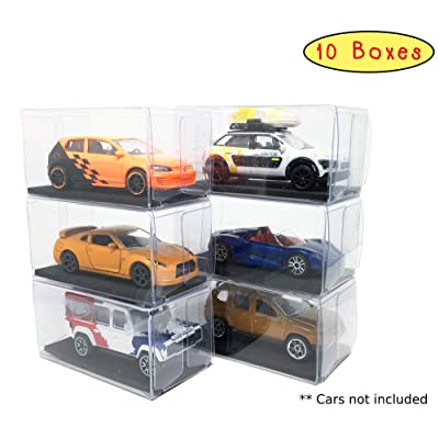 New Creative Toys 1/64 Scale Diecast Cars Display Case Pack of 10 Plastic Box with Black Foam Base for Model Car Size 3 inches (1.5 x 3 x 1.6 inches) Free 1 Model Car in Pack (Random) x: Toys & Games