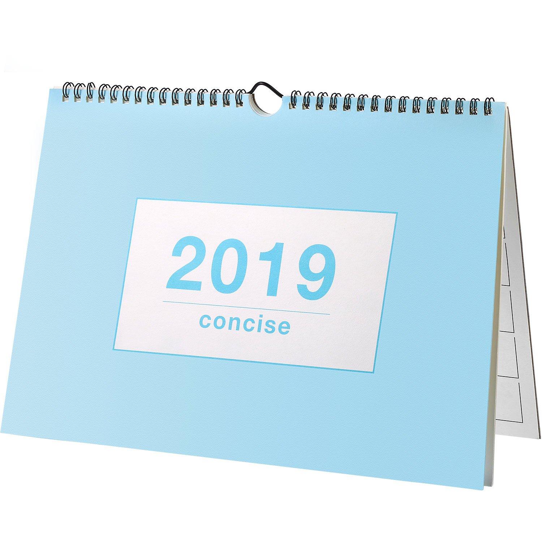 Nuovo 2019 Mensile Tavolo Calendario, Muro Calendario Giornaliero Agenda Desktop Calendario Anno Accademico Agenda per la Scuola, Ufficio, Casa, Twin Wire, 11.5 x 8.3 Pollici (Blu) Frienda
