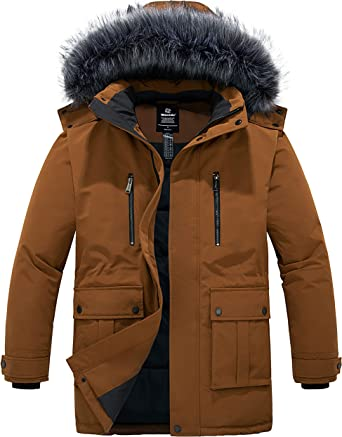 Mens Winter Fur Hooded Parka Coats Thick Quilted Jackets Warm Padded Overcoats