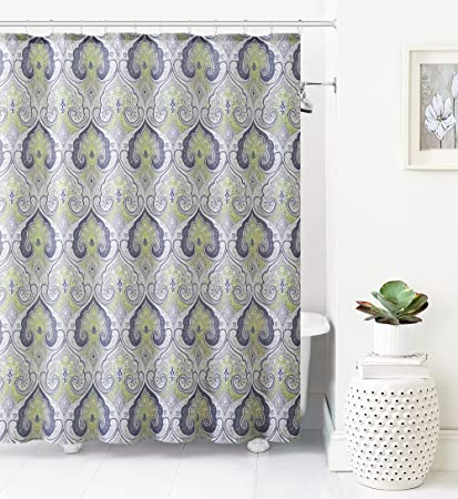 Jacquard Fabric Shower Curtain Ikat Moroccan Design Green Gray Taupe