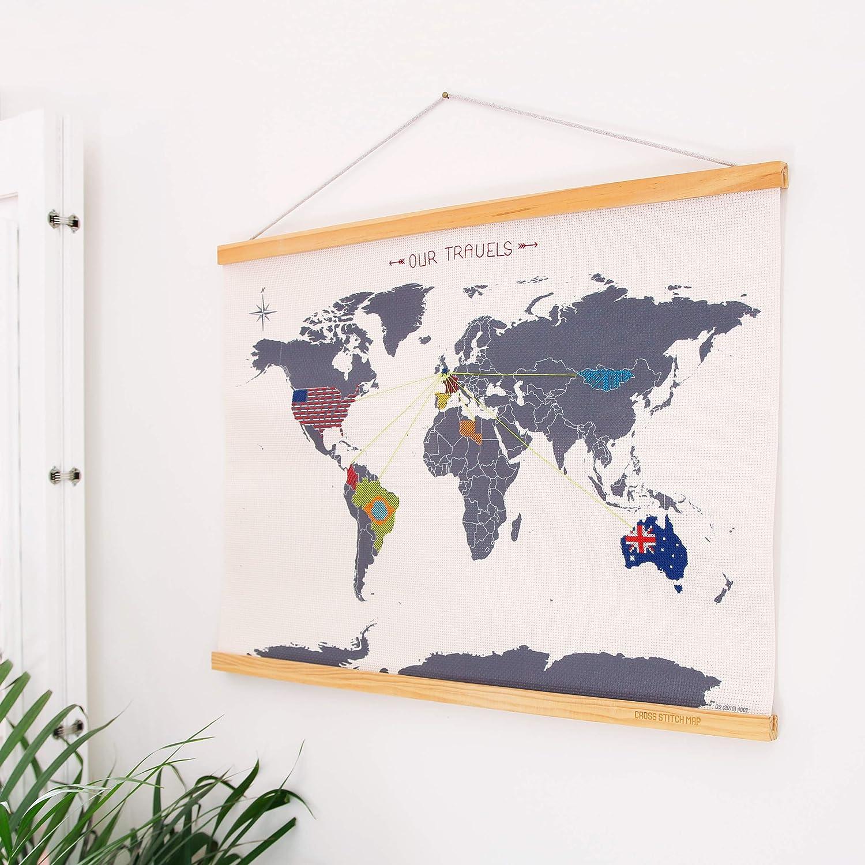 Suck UK Cross Stitch Map Kit / DIY Embroidery Wall Hanging
