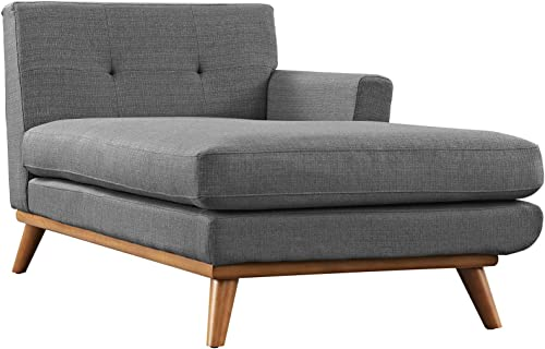 Modway Engage Mid-Century Modern Upholstered Fabric Right-Arm Chaise