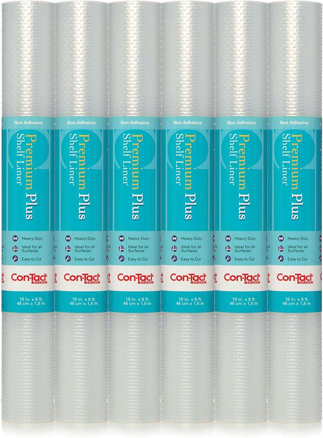 """Con-Tact Brand Premium Plus Non-Adhesive Contact Shelf and Drawer Liner, 18"""" x 6', Nova Crystal Clear, 6 Rolls"""