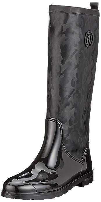 c28bb67a55b3 Tommy Hilfiger Women s Shiny Camo Long Rain Boot High  Amazon.co.uk ...