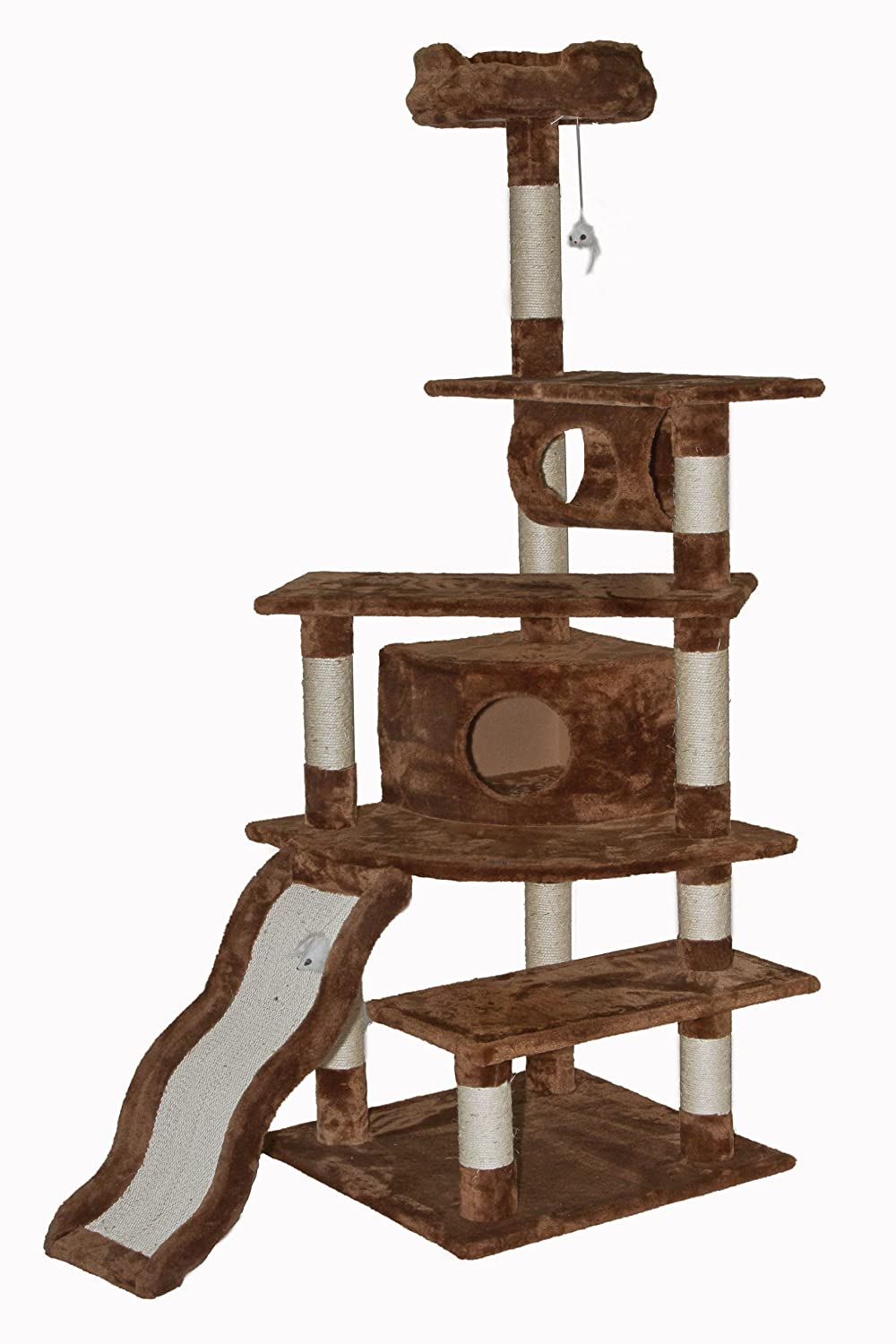 amazoncom  go pet club cat tree inch brown  cat tree and  - amazoncom  go pet club cat tree inch brown  cat tree and condos pet supplies