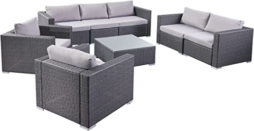 Great Deal Furniture | Samuel Outdoor 8-Piece Wicker/Aluminum Sofa Chat Set