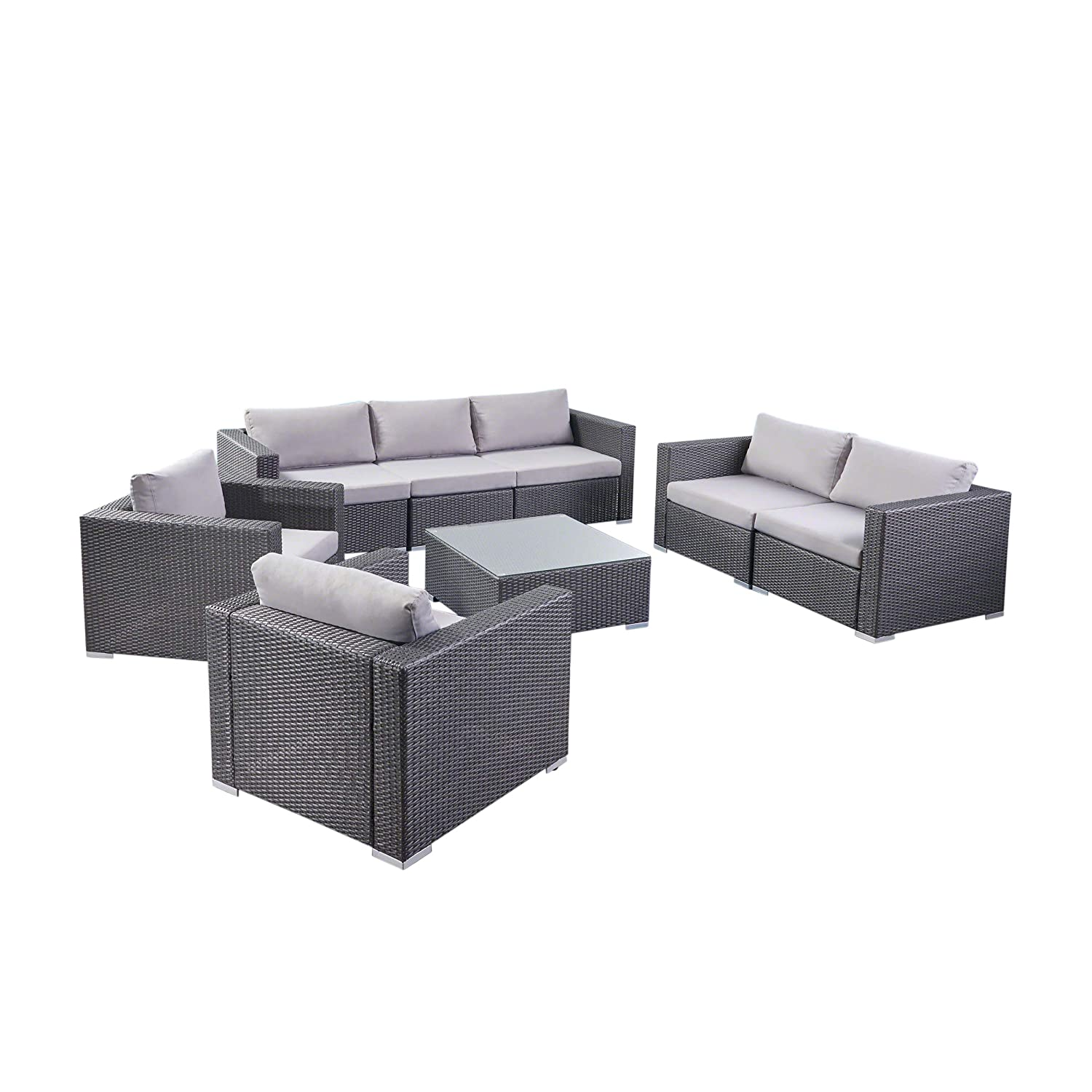 Great Deal Furniture 304333 Samuel Outdoor 8-Piece Wicker/Aluminum Sofa Chat Set with Cushions | in Grey/Silver