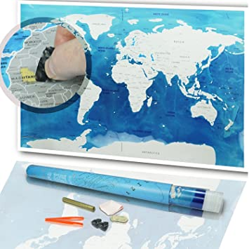 Amazon scratch the map world poster 32 x 23 inch world globe scratch the map world poster 32 x 23 inch world globe design scratchable gumiabroncs Images