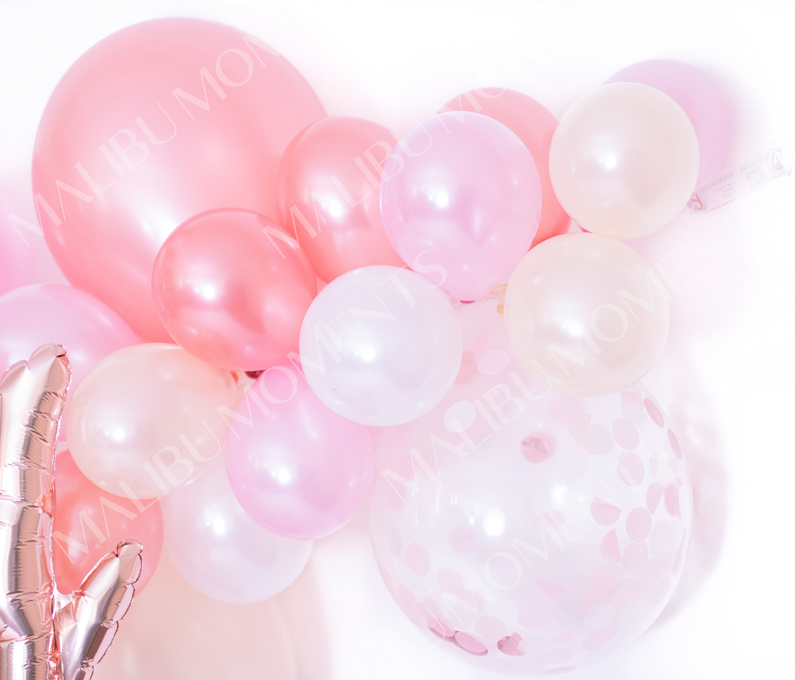 Baby Shower Decorations for Girl   Baby Girl Party Supplies  It's a Girl   Balloon Garland with 72 Balloons 11'' & 5'' Pink, Blush and Confetti with Rose Gold Baby Script Balloon (Pink) by Malibu Moments (Image #4)
