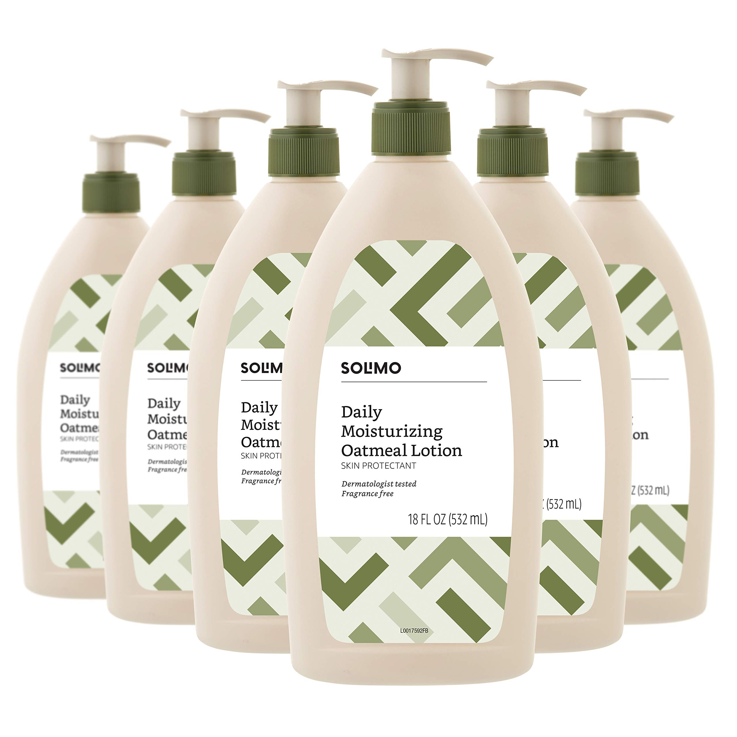 Amazon Brand - Solimo Daily Moisturizing Oatmeal Lotion, Fragrance Free, 18 Fluid Ounce (Pack of 6) by Solimo