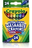Crayola Crayon Ultra Clean Washable, 24 Bright Colours, Art and Craft, Creativity,  School, Non Toxic