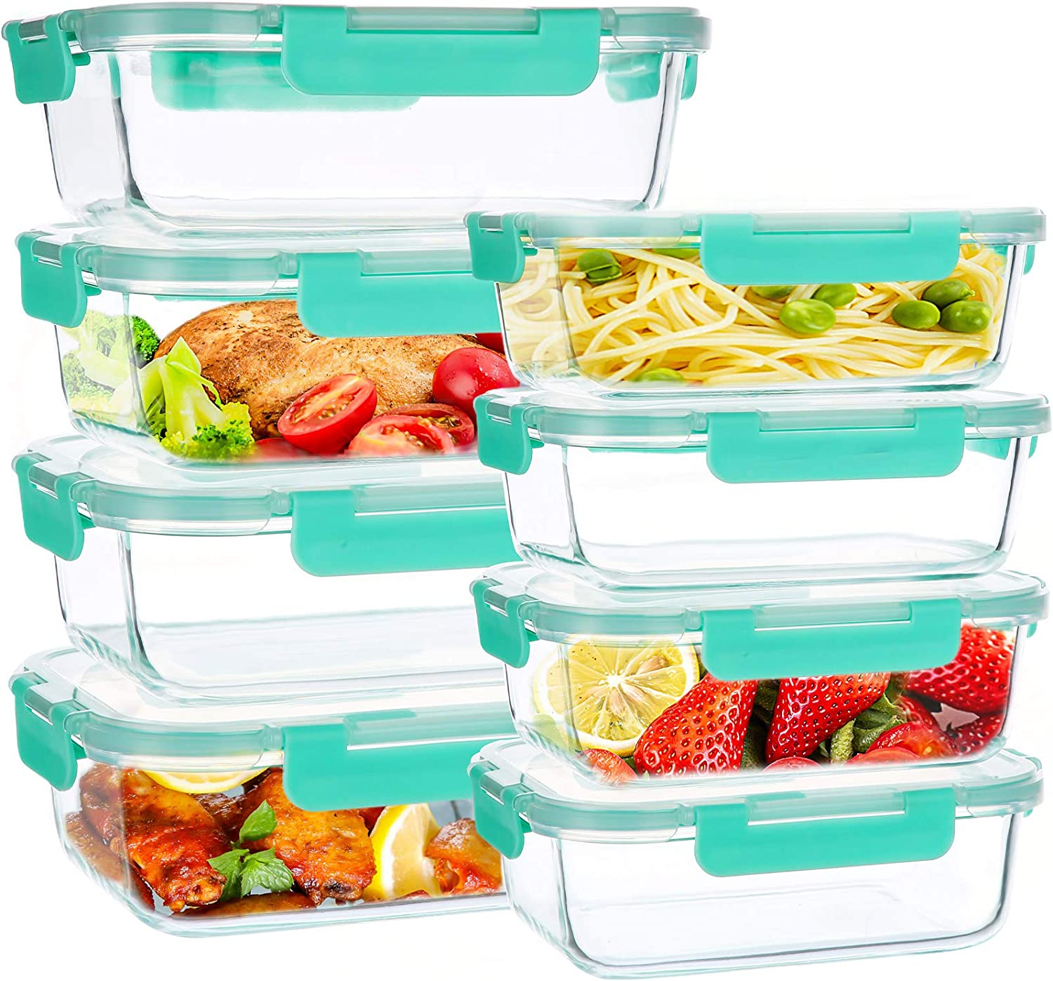 16 Piece Glass Food Storage Containers, Airtight Glass Meal Prep Containers with Smart Locking Lids, Stackable Lunch Boxes, Freezer to Microwave Oven Safe (8 Lids + 8 Bowls)