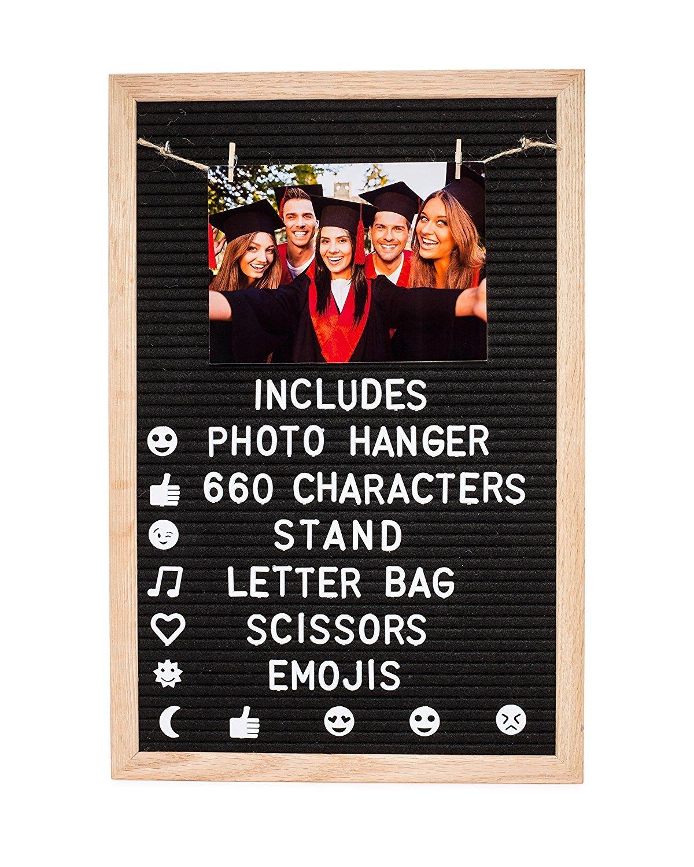 Felt Letter Board | Changeable Letters | Large 12 x 18 | NEW PHOTO HANGING KIT | Premium Black Felt | Oak Wood Frame | Indigo Fern