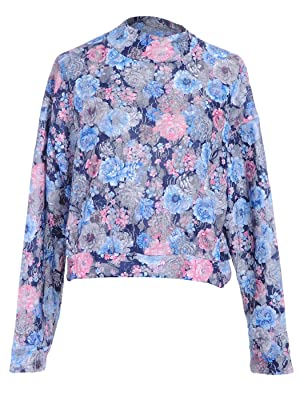 Anna-Kaci S/M Fit Multicoloured Floral Print Net Overlay 90s Inspired Blouse