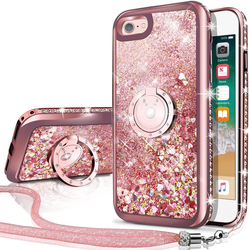 Silverback iPhone 6S Plus Case, iPhone 6 Plus Case, Moving Liquid Holographic Sparkle Glitter Case with Kickstand, Bling Diamond Rhinestone Bumper W/Ring Protective Case for Apple iPhone 6/6S Plus RD