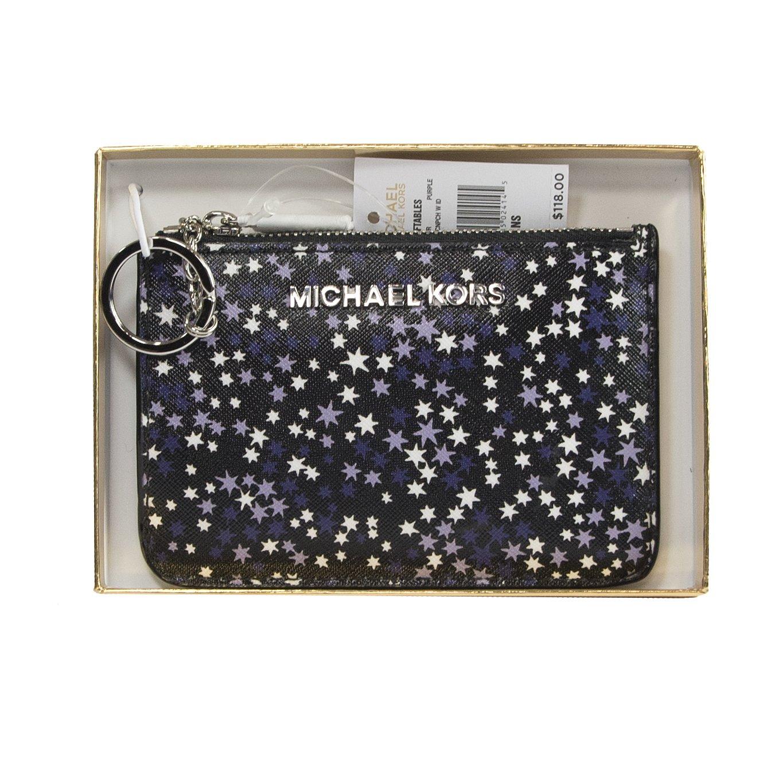 Michael Kors Purple Stars Limited Edition Jet Set Card Case Key Pouch Wallet