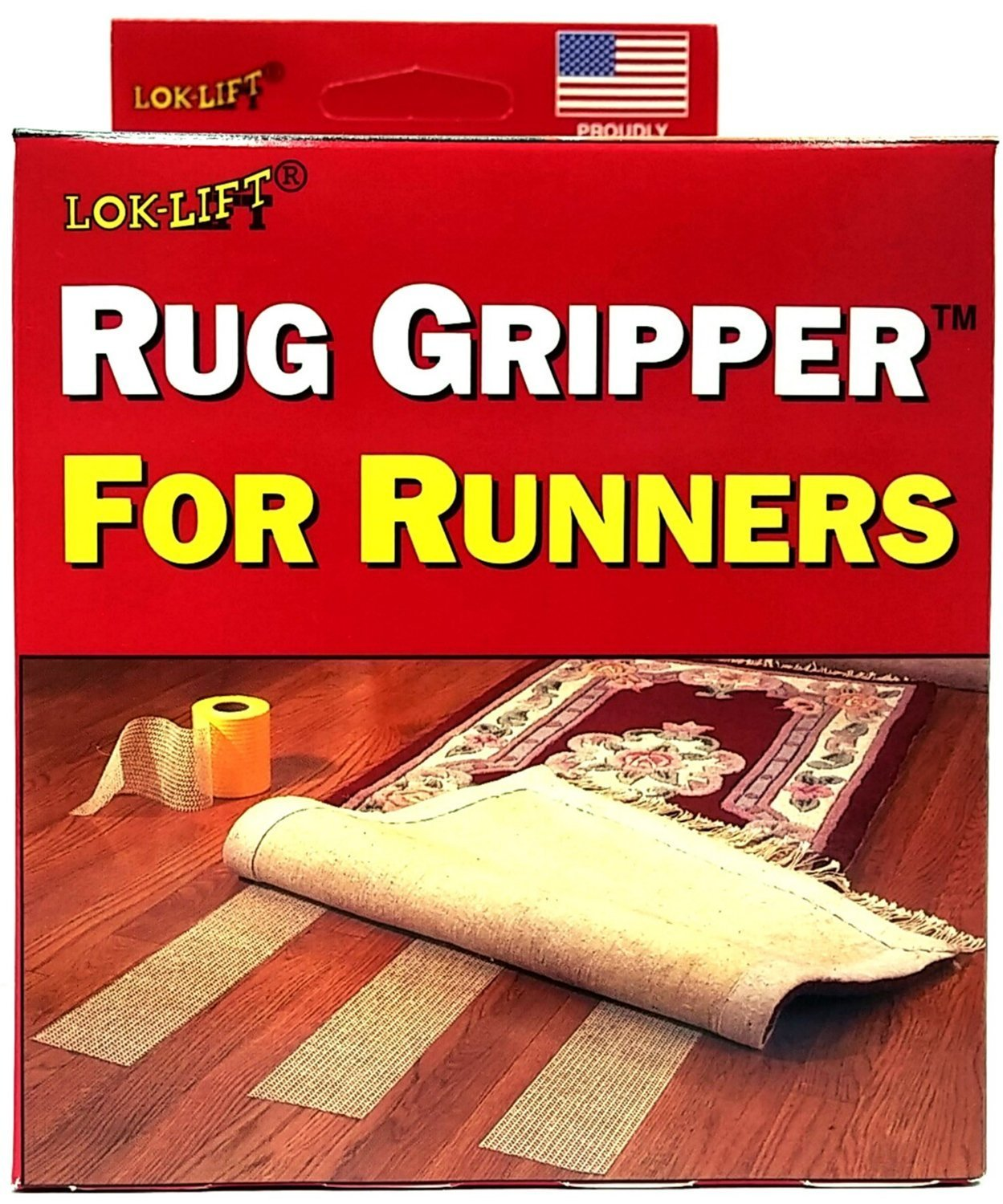 Lok-Lift Rug Gripper for Runners Non-slip Tape, 4-Inch by 25-Feet (Pack of 2) by Optimum Technologies